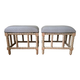 Blue & Gray Upholstered Stools - A Pair