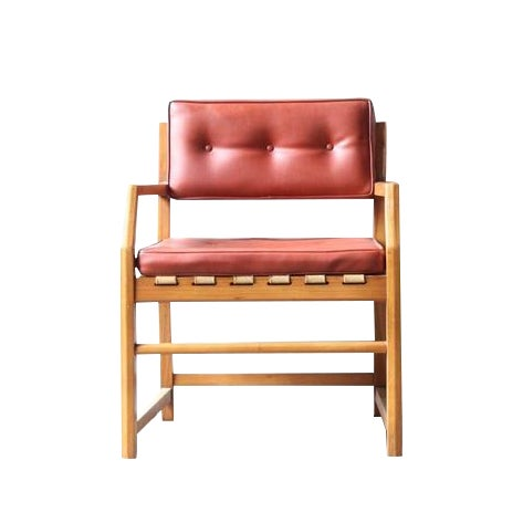 Mid-Century Faux Leather & Oak Sitting Chair - Image 1 of 7