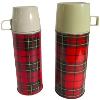 Vintage Plaid Thermoses - A Pair