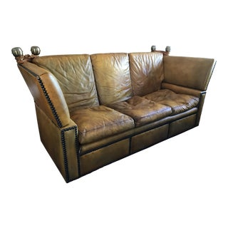 20th Century Worn Caramel Leather Down Cushion Knole Sofa