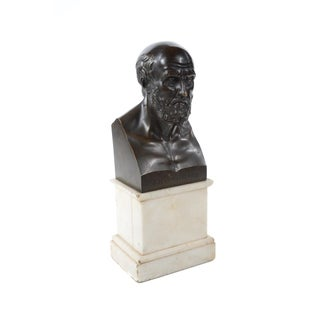 Antique 19th C. Hippocrates Solid Bronze Bust