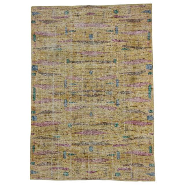 Vintage Turkish Art Deco Wool Rug - 6′11″ × 9′10″ - Image 1 of 4