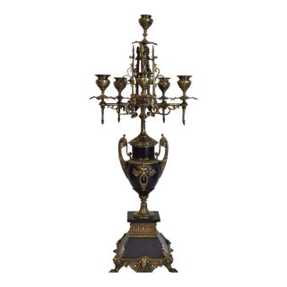 Vintage French Empire Neoclassical Style Brass & Black Marble Candelabra