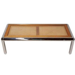 Milo Baughman Style Tubular Chrome & Cane Table