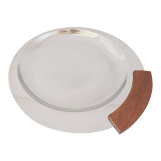 Arthur Salm Round Stainless Steel and Teak Tray