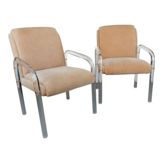 Lion in Frost Lucite Arm Chairs - A Pair