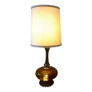 Mid-Century Amber Glass Lamp
