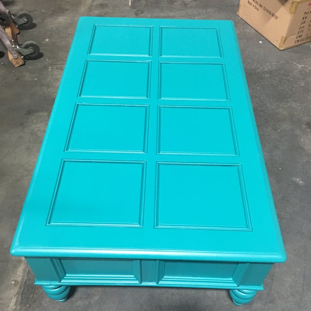 Custom Turquoise Cocktail Table by Bassett - Image 3 of 5