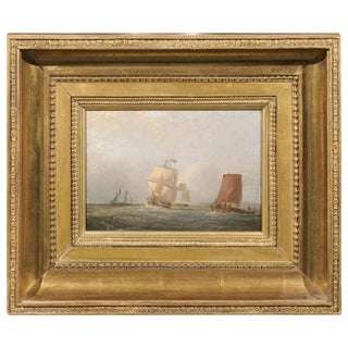 English 1850s Oil Painting on Board Depicting Ships at Sea Signed John Swift
