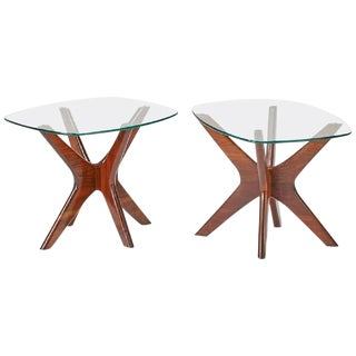 Adrian Pearsall Craft Associates Walnut & Glass End Tables - A Pair