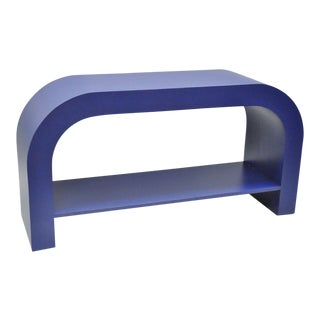 Mid Century Post Modern Blue Laminate Curved Waterfall Console
