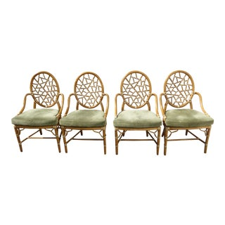 McGuire Cracked Ice Arm Chairs - Set of 4