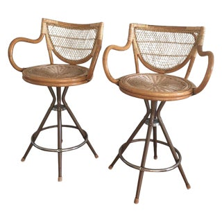 Vintage Wicker Bar Stools - A Pair
