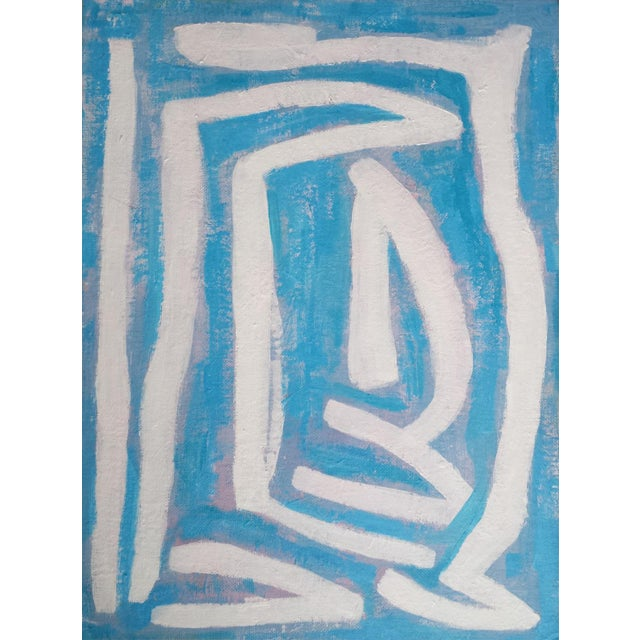 """Susie Kate """"Abstract on Blue"""" Original Painting - Image 2 of 4"""
