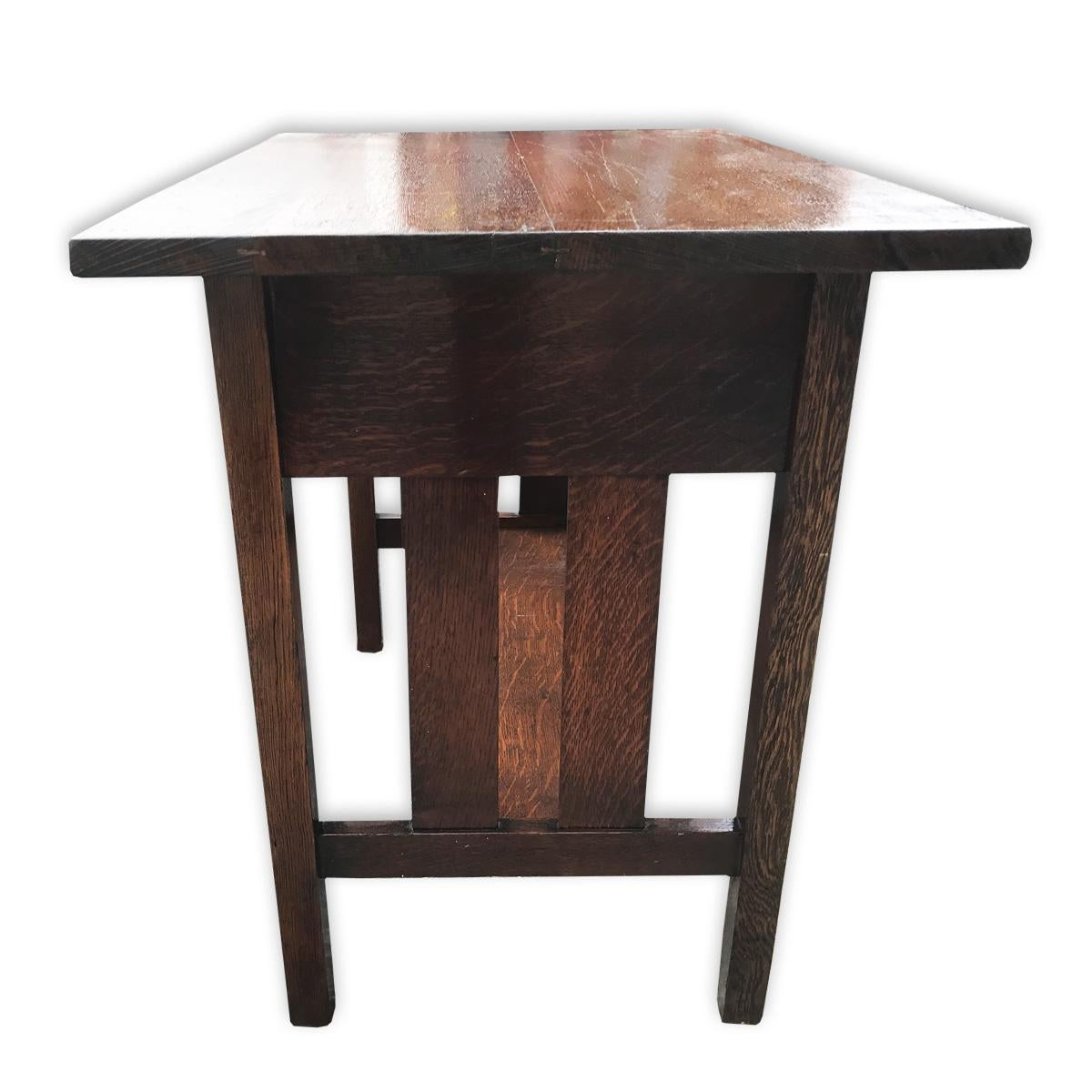 Antique Arts And Crafts Mission Tiger Oak Crafts Hall Table   Image 3 Of 4