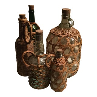 Wicker & Rattan Covered Glass Bottles- Set of 5