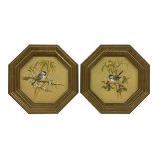 Mid-Century Modern Bird Prints Hexagon Framed - A Pair
