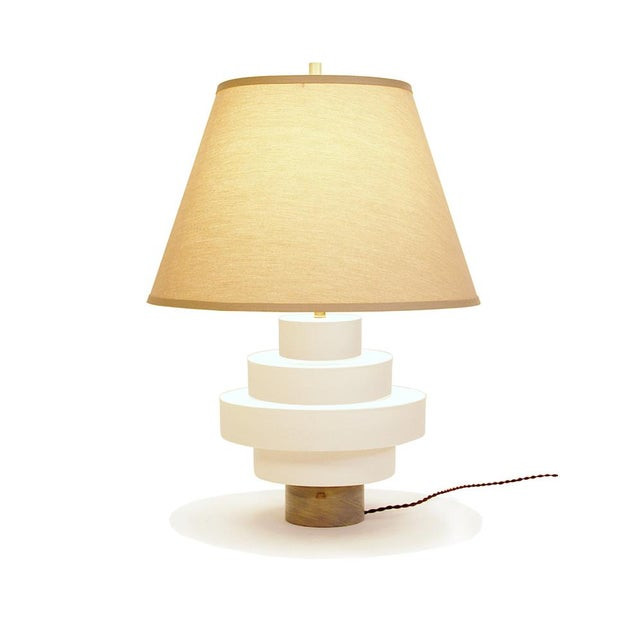Image of Porcelain And Wood Disc Table Lamp