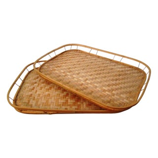 Vintage Large Wicker & Rattan Trays - a Pair
