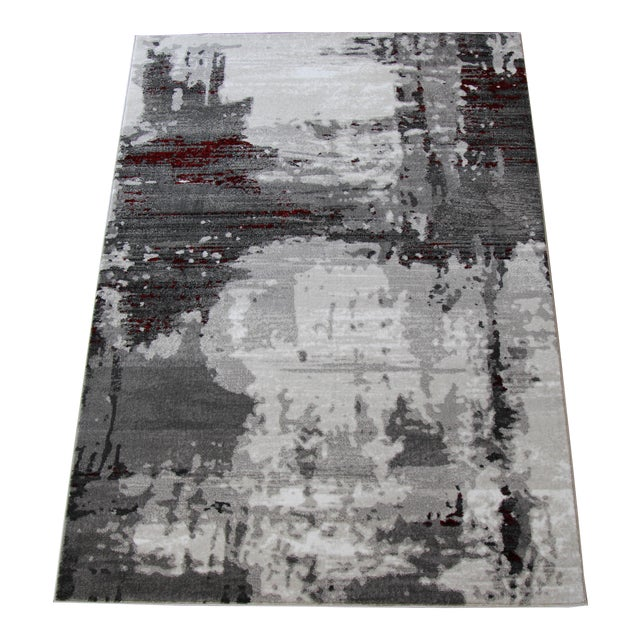 "Contemporary Gray & Red Abstract Rug - 6'7"" x 9'7"" - Image 1 of 8"