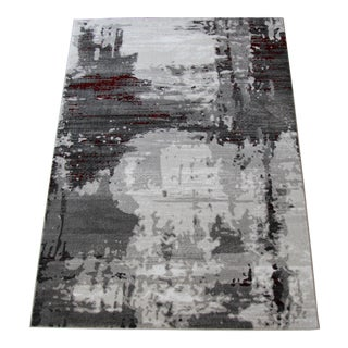 "Contemporary Gray & Red Abstract Rug - 6'7"" x 9'7"""