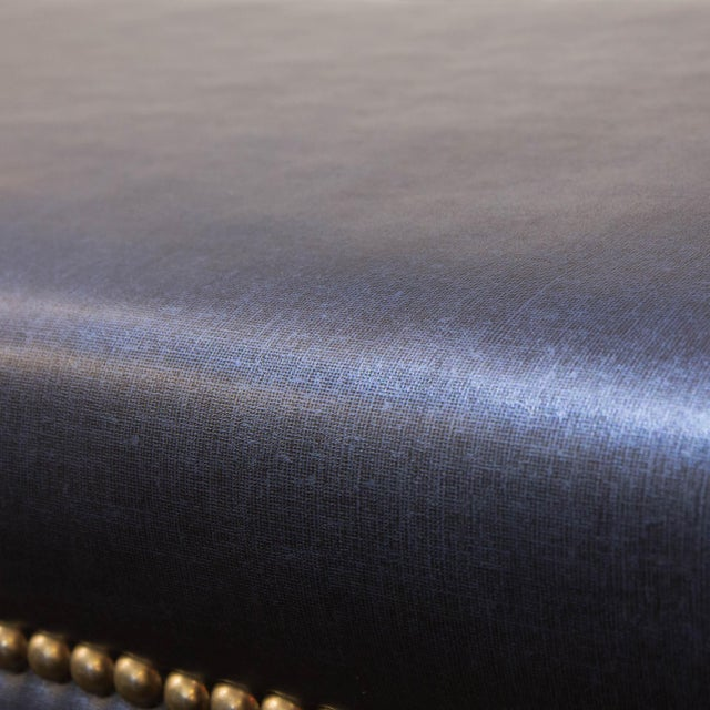 Nailhead Trim Navy Blue Bench - Image 4 of 5
