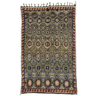 "Vintage Moroccan Mid-Century Modern Berber Rug - 5' x 7'9"""