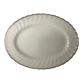 Anchor Hocking Milk Glass & Gold Rimmed Serving Platter