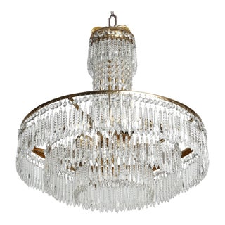 French Hand-Cut Tiered Crystal and Brass Chandelier