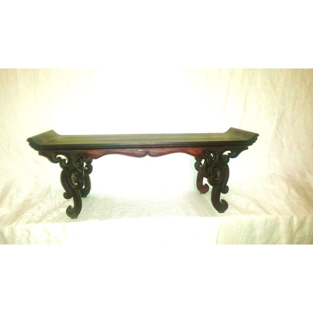 Small Antique Chinese Lacquered Wooden Altar Bench - Image 2 of 11