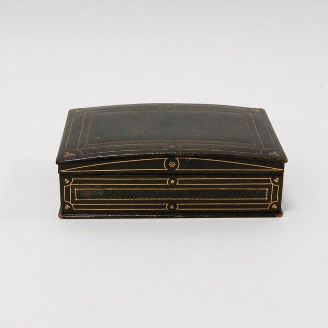 1930's Green Leather Cigarette & Cigar Humidor Tobacco Box - Image 6 of 8