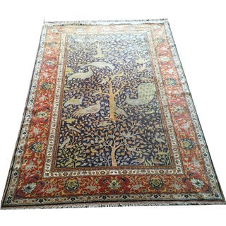 Turkish Kayseri Hunting Scene Silk Rug - 5′ × 6′4″