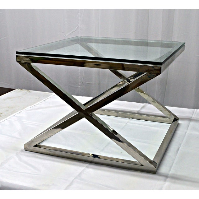 Stainless Steel & Glass Top Square Crossing Table - Image 4 of 8