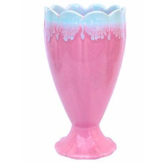 Hull Pink & Blue Drip Glaze Vase