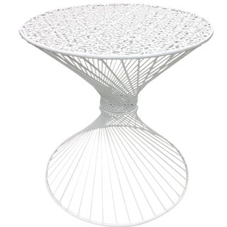 White Iron Powder Coated Side Tables - A Pair