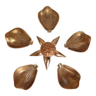Mid-Century Brass Flower Petal Ashtrays - Set of 5