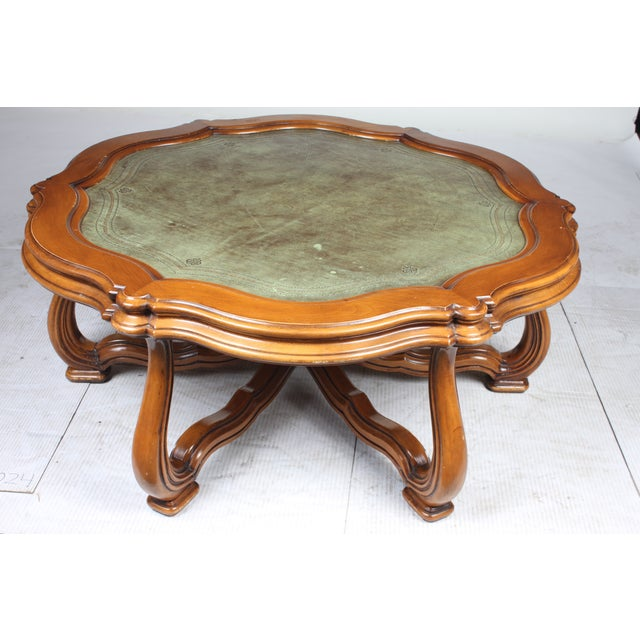 french leather top coffee table chairish