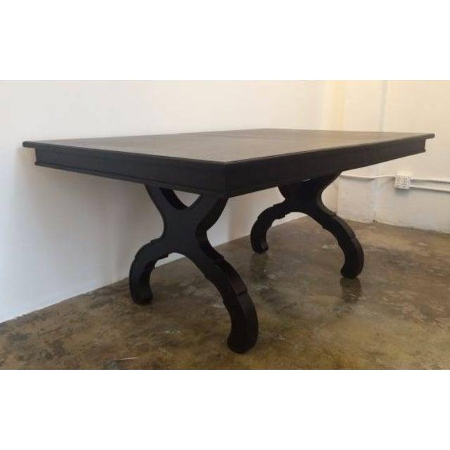 Image of Matte Black Laquer Trestle Table