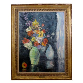 An Impressionist Still Life of Flowers w/ Fruit; Probably American