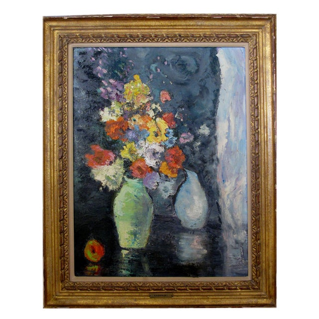 Image of An Impressionist Still Life of Flowers w/ Fruit; Probably American