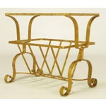 Image of Gilt Iron & Glass Side Table With Magazine Caddy.