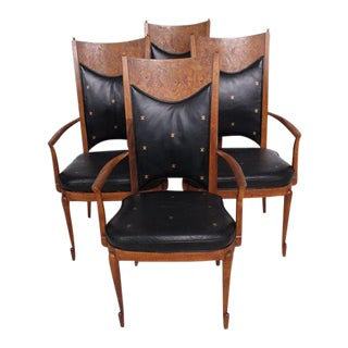 Mid-Century Modern Walnut & Leather Dining Chairs