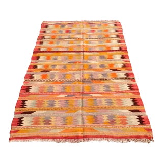 "Vintage Turkish Kilim Rug - 4'10"" X 8'1"""