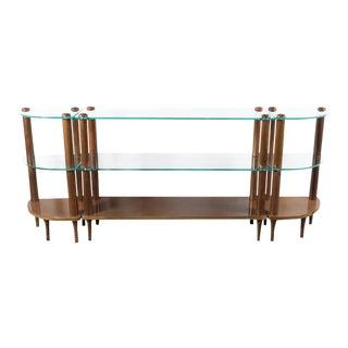 Art Deco Streamlined Glass and Walnut Shelf Trio by Gilbert Rohde