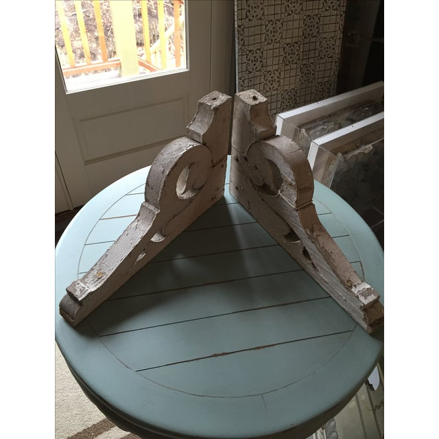 Distressed White Shelf Brackets- A Pair - Image 8 of 11