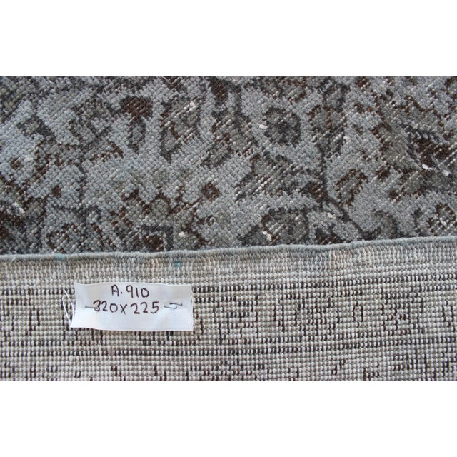 """Vintage Turkish Over-Dyed Gray Rug - 10' x 7'3"""" - Image 8 of 8"""