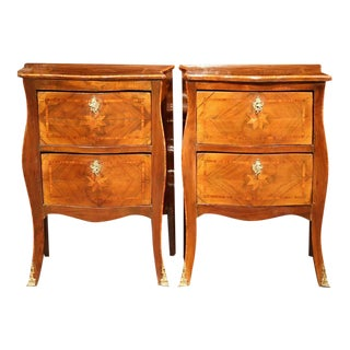 19th Century French Louis XV Carved Walnut Marquetry Bedside Tables - a Pair