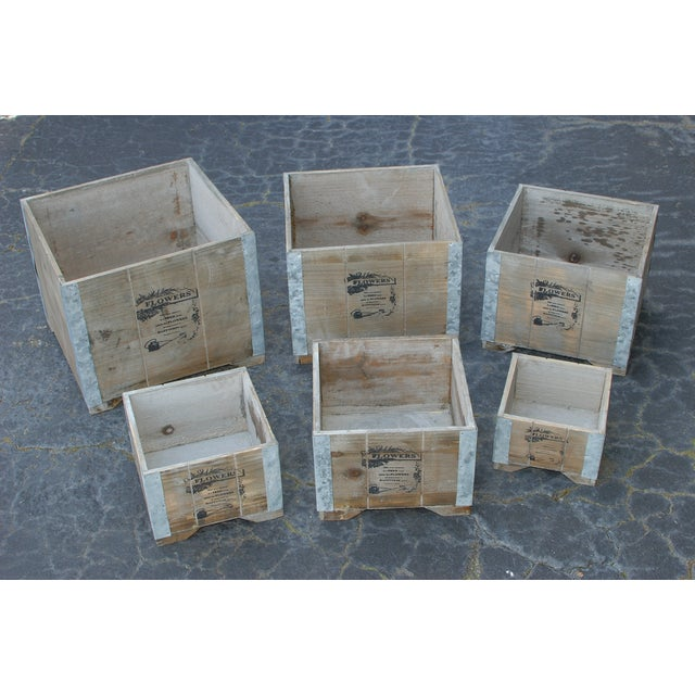 Wooden Country Square Planter - Set of 6 - Image 2 of 4