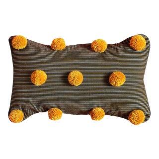 Gold Pom-Poms on Black Lurik Striped Pillow