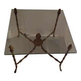 Gilt Iron Bamboo and Glass Side Table